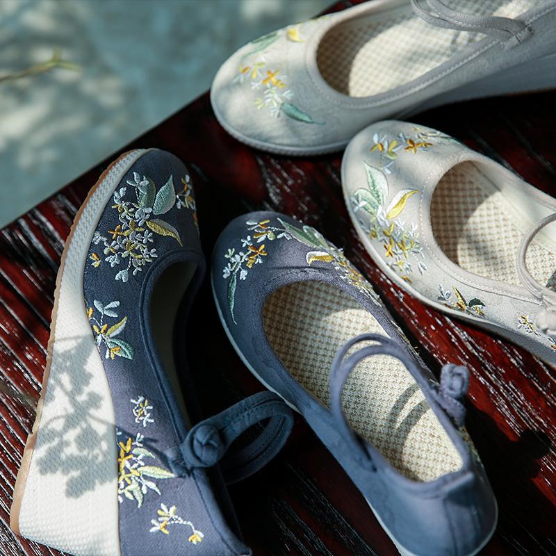 桂花歌 清水溪汉服周边配饰棉麻鞋子复古布鞋厚底高跟女鞋坡跟鞋