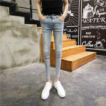 韩版夏季简约薄款浅色九分牛仔裤男破洞修身小脚裤男士显瘦9分裤