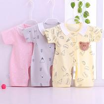 婴儿连体衣短袖纯棉卡通爬服睡衣男女宝宝夏装哈衣薄款新生儿衣服