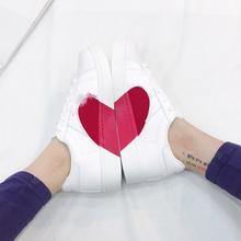 张小笨2018春季新款圆头松糕底厚底软底低帮软面系带爱心小白鞋子