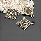 Retro alloy accessories 24MM square rose pendant pendant ancient bronze color 10 21116