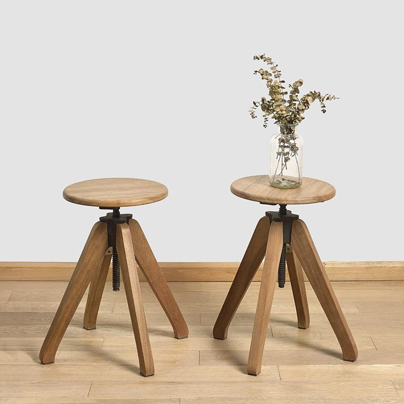 美式复古榄仁木 卡斯楠实木四脚小圆凳 旋转吧椅家用餐桌凳可升降