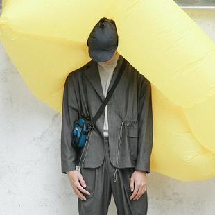 Doh原创设计廓形西服外套休闲条纹宽松一粒扣日系简约小西装