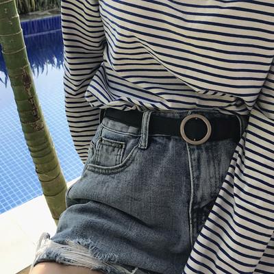 韩国2018新款腰带chic无孔圆扣流行紫色方扣可调节皮带简约学生女