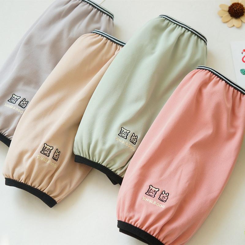 小清新长款袖套 韩版可爱学生成人袖套女纯色棉布护袖防污保暖