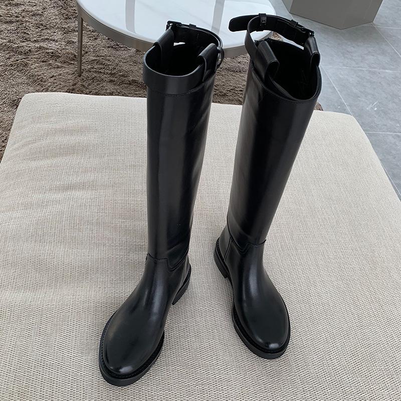 鞋大师欧美真皮平底粗跟骑士靴女2018秋冬新款长筒机车靴高筒长靴