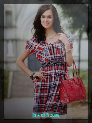 今品质新款品牌折扣女装中年中老年女装蓝红格连衣裙女性修身气质
