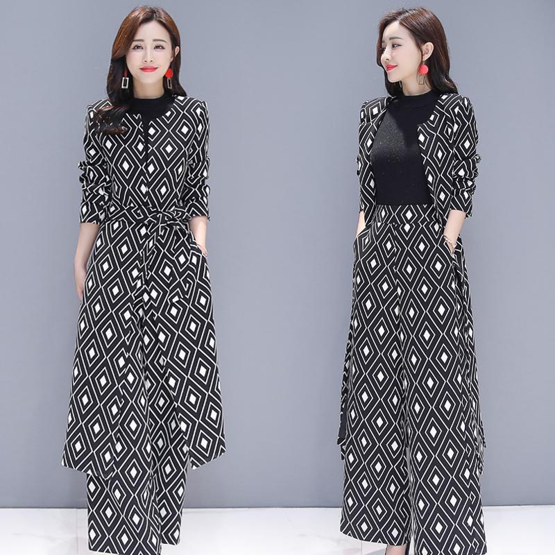 时尚潮流黑白格子长款风衣套装女春秋装新款韩版修身阔腿裤两件套