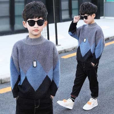 男童毛衣套头2018新款中大童韩版秋冬款儿童针织衫加绒加厚高领潮