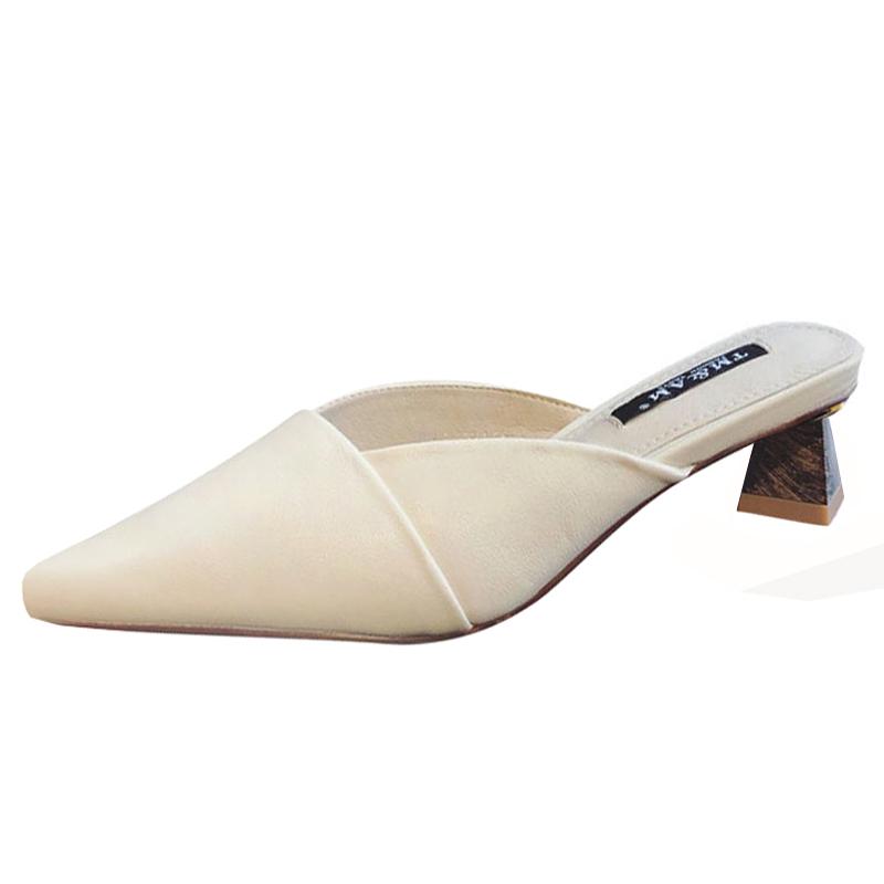 尖头高跟包头半拖鞋木纹粗跟穆勒鞋异形中跟凉拖女欧美名媛职业OL