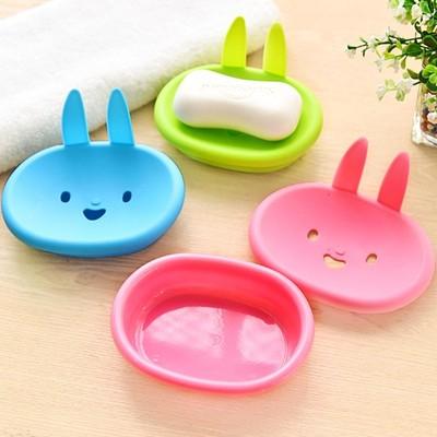 可爱卡通兔香皂盒创意双层沥水肥皂盘家居浴室肥皂架旅行皂托