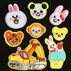 小兔子小熊挖掘機汽車毛衣服裝飾貼布貼花刺繡熊貓小猴子房子老虎