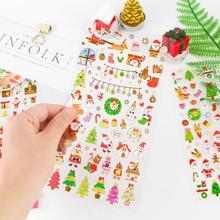圣诞节圣诞树老人卡通可爱韩国烫金日本金箔平面贴纸小粘贴手账贴