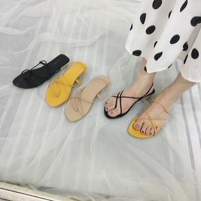 MUSI2019夏季韩国个性设计简约罗马细带套趾两穿罗马粗跟凉鞋女鞋