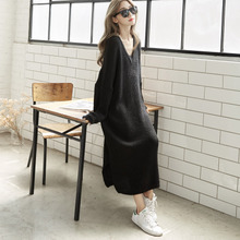 Large V-collar and long sleeve skirt, loose, slim and large size knitted sweater skirt, mid-length dress, autumn-winter Korean version new