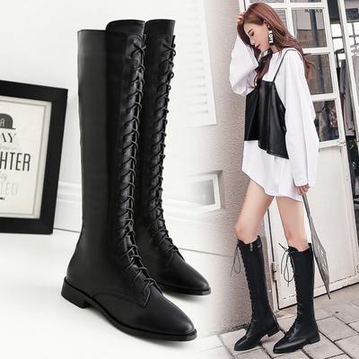 2018马丁靴女夏英伦风女粗跟军靴圆头系带长筒靴冬季女鞋
