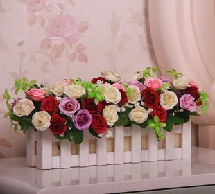 欧式客厅餐桌落地实木30cm栅栏仿真花套装假花绢花塑料花卉装饰品