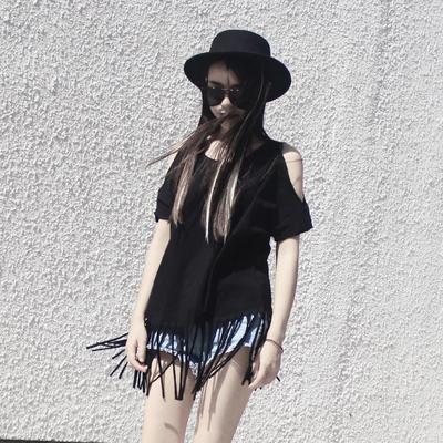 短袖T恤女宽松大码 韩国休闲蝙蝠衫中长款流苏露肩上衣女纯棉半袖