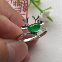 镶嵌伴钻满绿戒指18k货好种水A天然翡翠0627逸福珠宝
