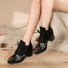 Ethnic Style Embroidered short boots with thick heels New style of retro high-upper embroidered shoes with high-heeled nude boots in spring and autumn of 2019
