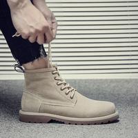 男士马丁靴中帮大头鞋英伦风高帮鞋春季男靴子韩版潮男沙漠靴百搭