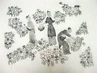 Picking cotton old stone tile paintings in the Qing dynasty Ancient guwen calligraphy rubbing tiles collection 2084
