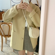 Ghost Horse Girl Gentle Cream Yellow Handmade Double-sided Cashmere Overcoat Woman INS Wool Overcoat