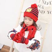 韩国秋冬儿童围巾手套帽子三件套笑脸滑雪帽保暖毛球帽厂家批發图片