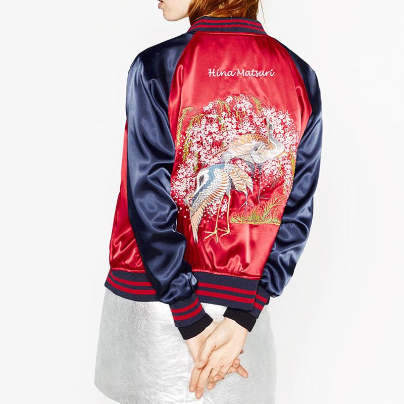 仙鹤刺绣棒球服女立领两面穿软妹短外套春秋飞行员夹克 关晓彤同款
