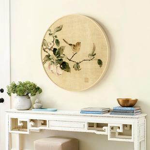现代新中式装饰画 实木正圆形水墨画国画挂画玄关壁画书房 花鸟