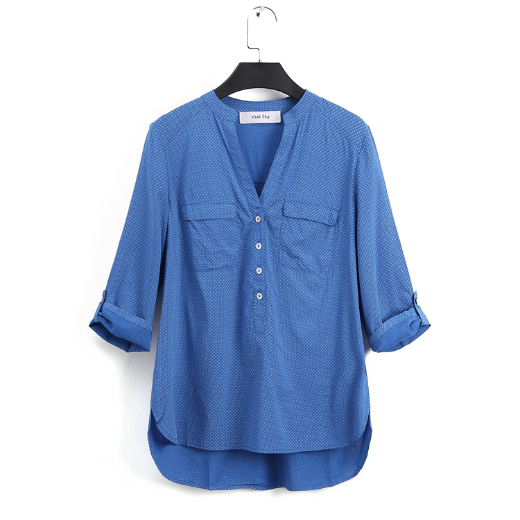 2018 spring and summer new women's printed half open collar loose seven sleeves large size sleeve head
