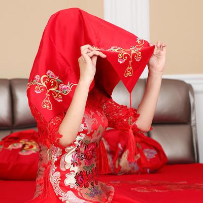结婚庆用品中式婚礼红色嫁妆陪嫁套装新娘蕾丝红盖头头纱女方道具