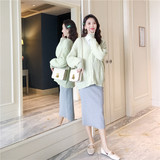 AROOM maternity dress early autumn knit coat Korean 3-9 months pregnant clothes worn by the mother