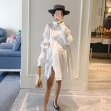 AROOM pregnant women spring big swing shirt dress irregularloose tight shrink medium long white shirt doll shirt