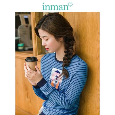 茵曼2018秋装新款文艺范贴布印花套头条纹毛衣女长袖修身针织上衣