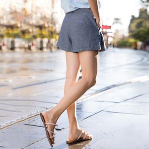 茵曼旗舰店2018夏装新款女装裤子高腰百褶休闲宽松阔腿裤短裤裙裤