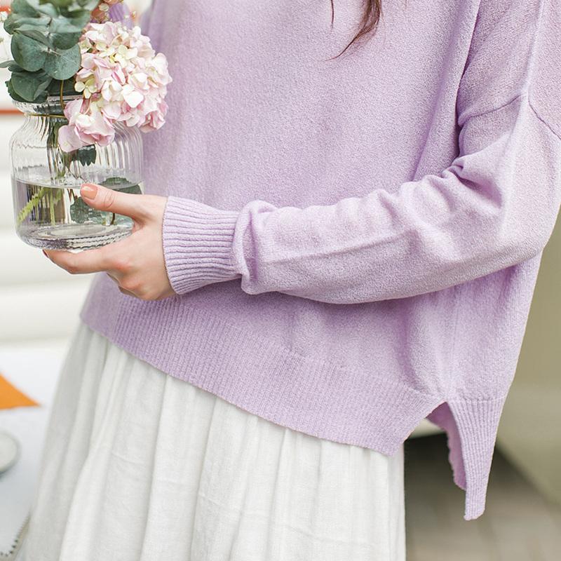茵曼旗舰店2019春装新款女装纯色宽松前短后长摆套头毛衣女针织衫
