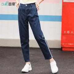女裤牛仔拼接