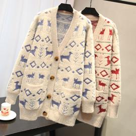 5209水貂绒外套秋季新款V领慵懒风宽松显瘦小鹿图案毛呢外套图片