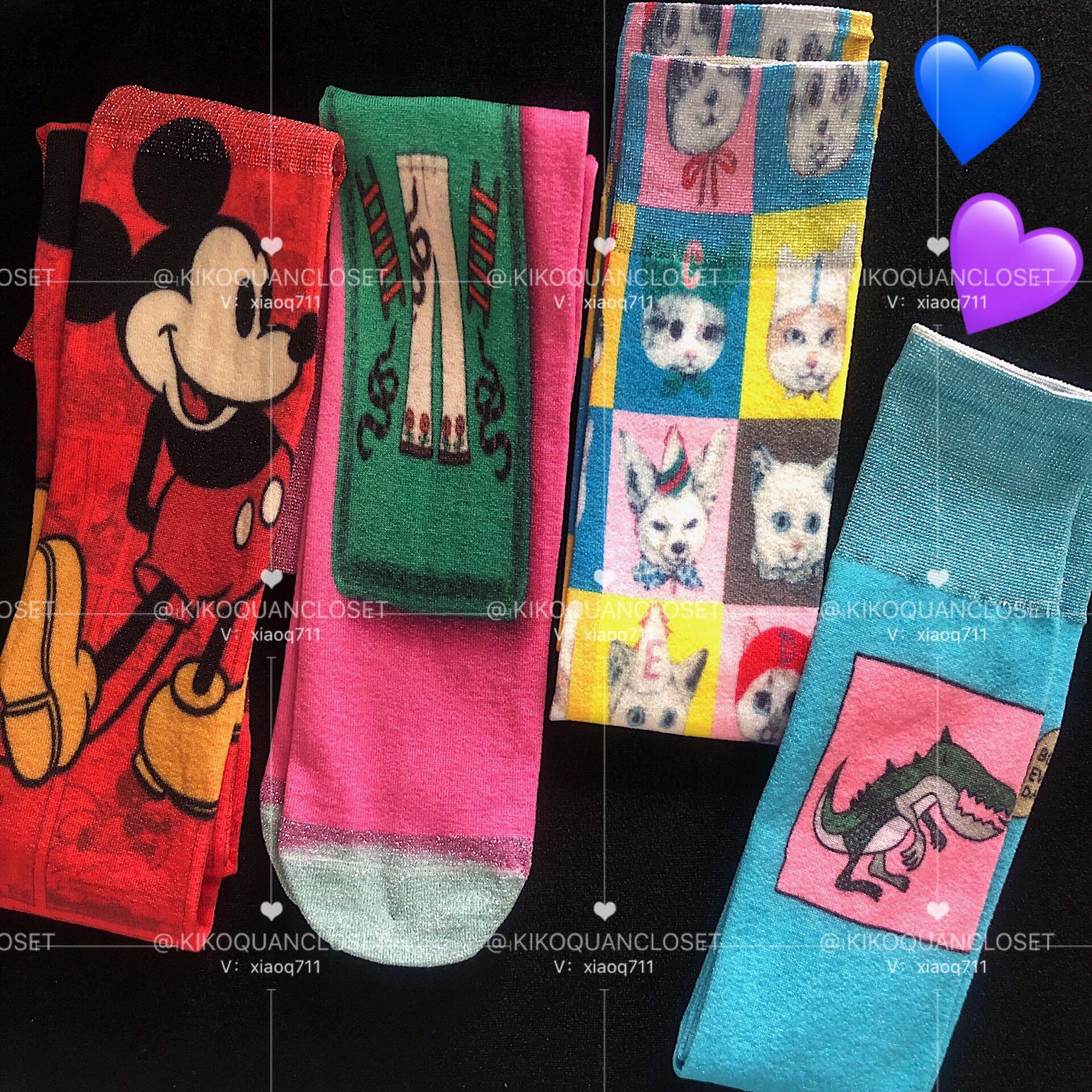 韓國東大門米奇sjyp小恐龍中筒襪 彩色涂鴉bling粉色撞色棉襪