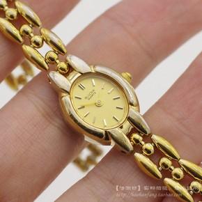 二手瑞士原装正品老BULOVA宝路华金壳椭圆形手链款石英女士手表