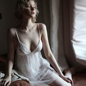 今夕何夕 白色性感睡衣女复古公主多层网纱蕾丝吊带睡裙套装