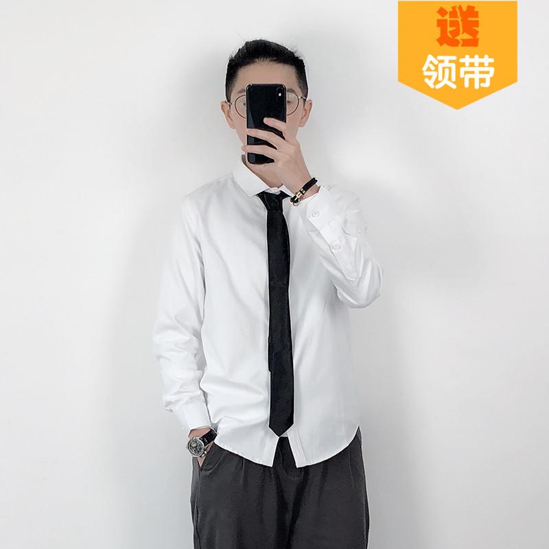 自制les帅T白衬衫通勤商务衬衣免烫寸衫春小码男装XS正装衣疫夏