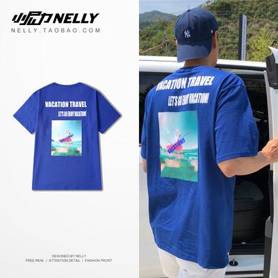男士短袖T恤夏季新款简约印花半截袖体恤男韩国潮流落肩袖打底衫