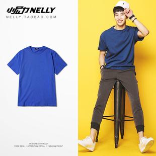 ulzzang复古潮牌短袖 t恤男女半袖 T恤2019夏季新品 纯色透气短袖