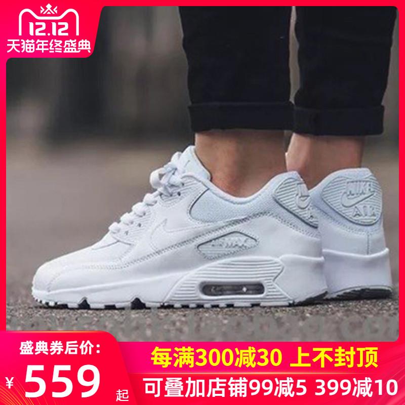 Nike耐克男鞋2019冬季休闲鞋AirMax90白色气垫运动鞋跑步鞋537384