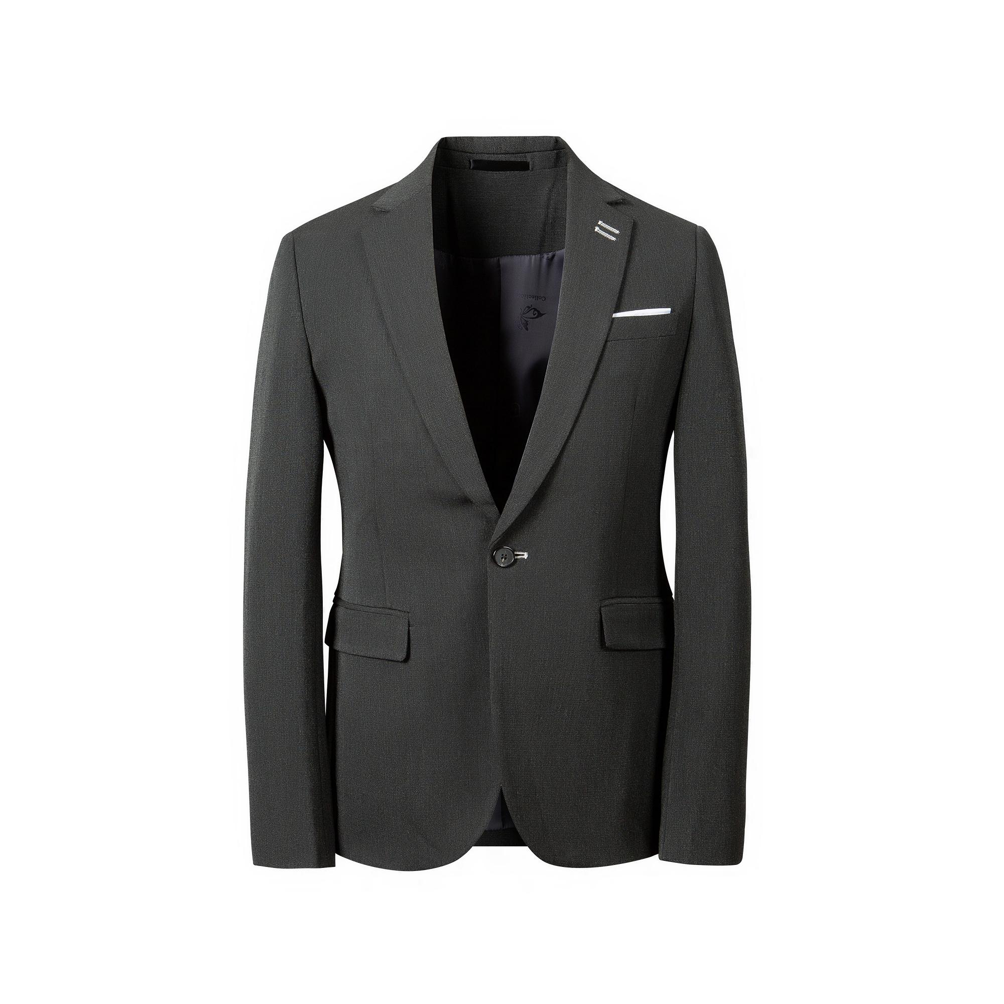 四季英伦白色扣眼免烫男士西装三件套韩版商务修身双开叉西服套装
