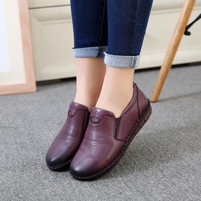 上海杰骤中老年深口女鞋头层牛皮平跟舒适手工单鞋妈妈鞋特大码42
