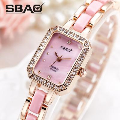 双宝女款方形钻石女士手表女款复古镶钻手链表时尚石英手表哪个品牌好