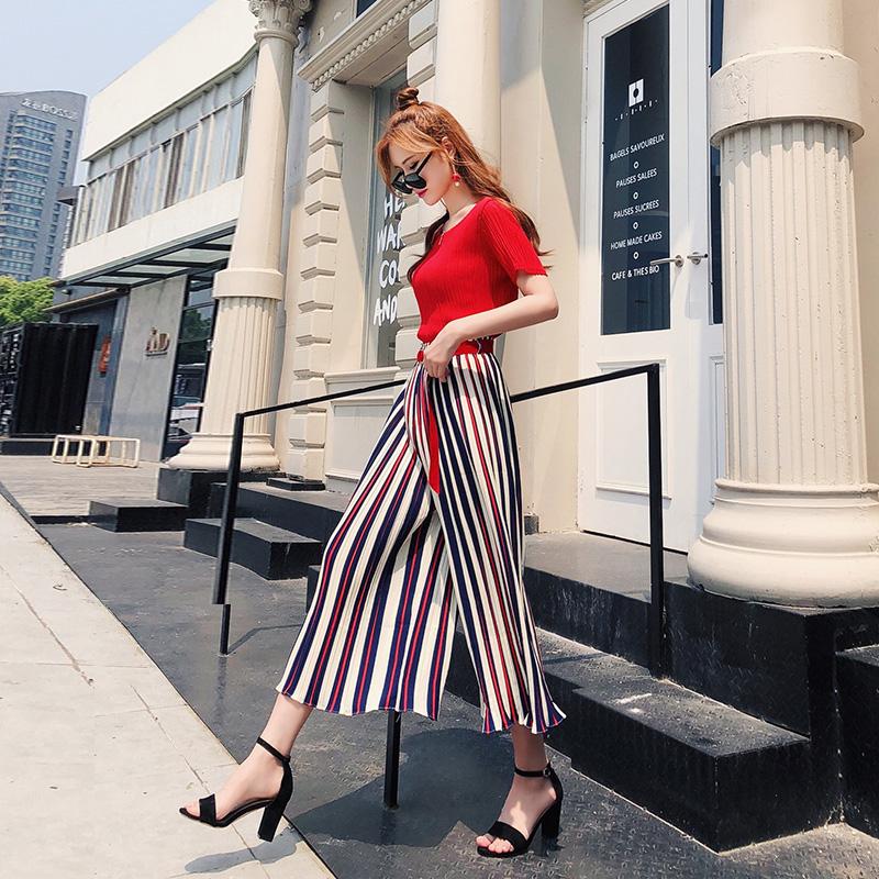网红两件套2018夏季新款韩版气质女装上衣高腰阔腿裤女神套装潮